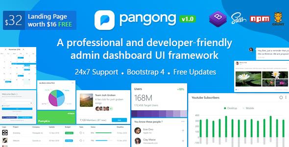 Pangong v1.1 — Developer-friendly Bootstrap 4 Admin Dashboard + UI Kit