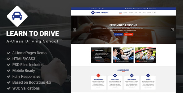 LearnToDrive — Driving School & Lessons HTML5 Template