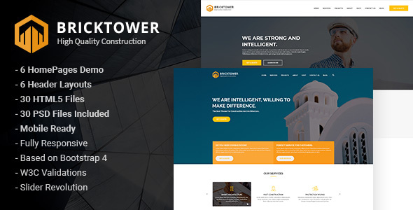 Bricktower — Construction and Building Company HTML5 Template