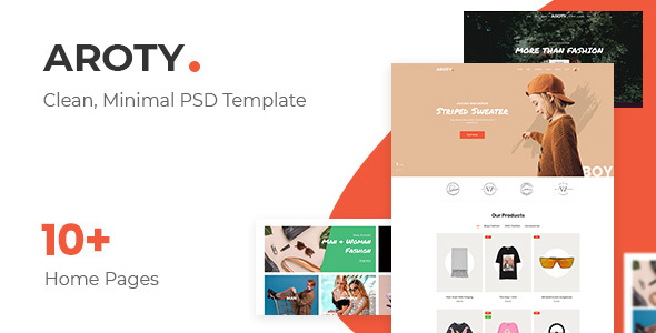 Aroty v1.0 — Clean, Minimal Shop PSD Template