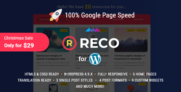 Reco v2.8.0 — Minimal Theme for Freebies