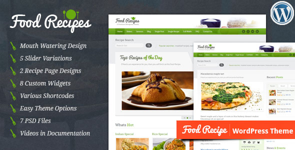 Food Recipes v3.1.1 — Themeforest WordPress Theme
