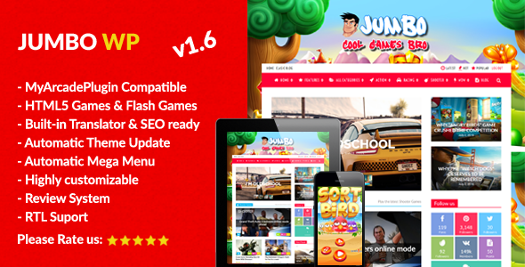Jumbo v1.6 — WordPress Magazine & Arcade Theme