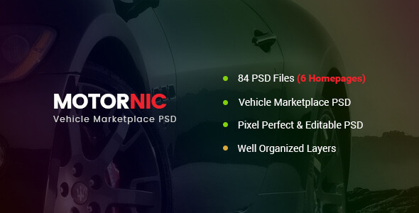 MotorNic — Vehicle Marketplace PSD Template