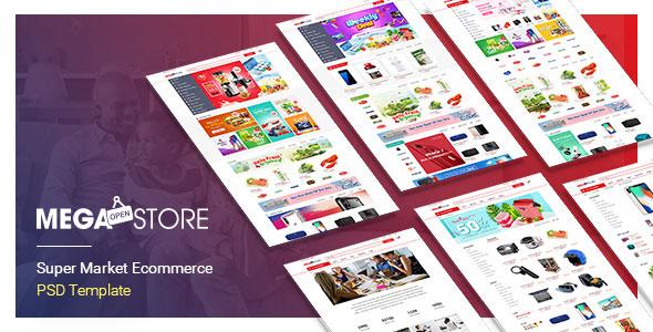 MegaStore – SuperMarket PSD & Sketch Template