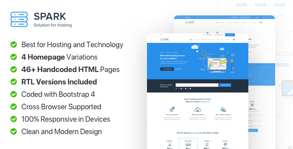 Spark Host — Responsive Hosting, Domain and Technology Template