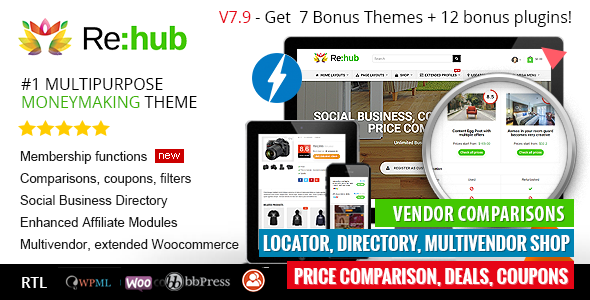 REHub v7.9 — Price Comparison, Business Community