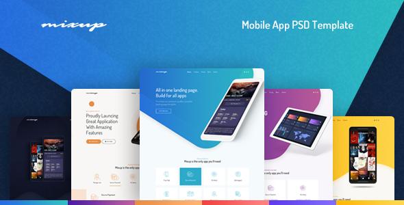Mixup — App Landing Page PSD Template