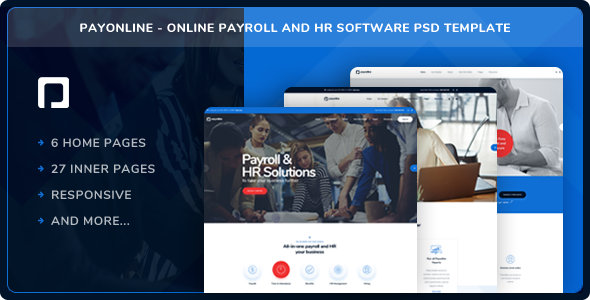 Payonline — Online Payroll and HR Software PSD Template