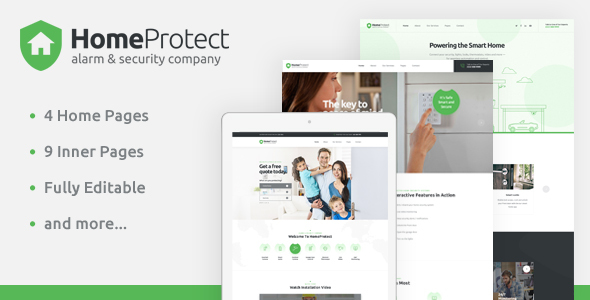 HomeProtect — Smart Alarm & Security Systems PSD Template