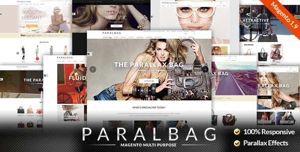Responsive Magento Themes — Parallax Handbags Bags Store