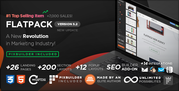FLATPACK v5.2 – Landing Pages Pack With Page Builder