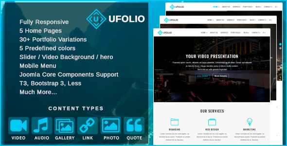 Ufolio v1.4 — Multipurpose & Portfolio Joomla Template