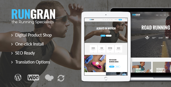 Run Gran v1.0 — Sports Apparel & Gear Store WordPress Theme