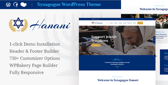 Hanani v1.0 — Jewish Community & Synagogue Theme
