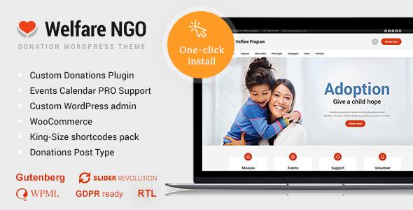 Welfare NGO v1.1.8 — Nonprofit Organization Charity Theme