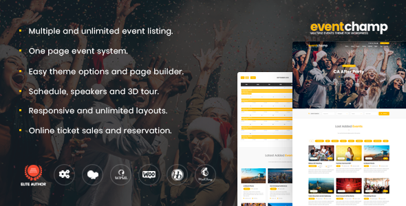 Event Champ v1.8.5 – Multiple Events & Conference Theme