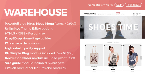Warehouse v4.2.1 — Responsive Prestashop 1.6 & 1.7 theme