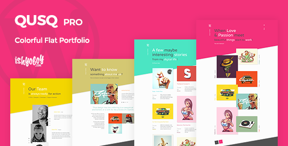 Qusq Pro v1.6 — Flat Colorful Portfolio
