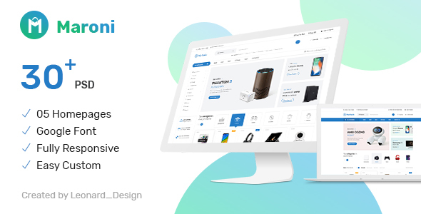 Maroni — Multipurpose Electronics eCommerce PSD Template