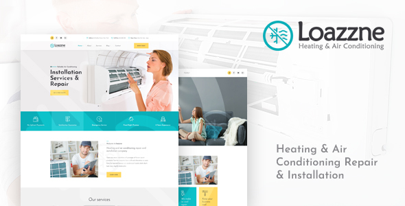 Loazzne — Heating & Air Conditioning Repair & Installation Services PSD Template