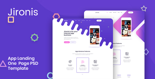 Jironis — App Landing One Page PSD Template
