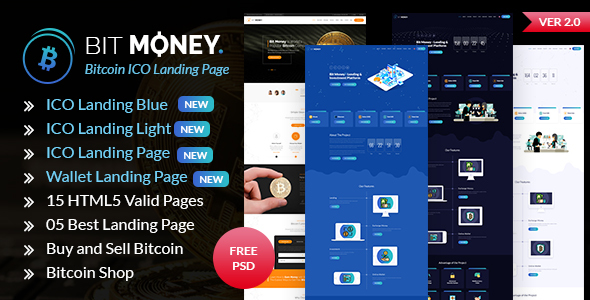 Bit Money — Bitcoin Cryptocurrency ICO Landing Page HTML Template