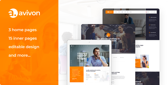 Avivon — Pure Business Consulting & Finance PSD Template