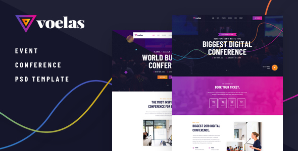 Voelas — Modern Event & Conference Organization PSD Template
