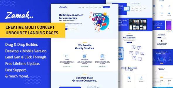 Zamak — Responsive Unbounce Landing Page Template