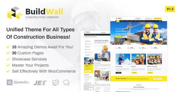 BuildWall v1.3.1 — Construction Company Elementor
