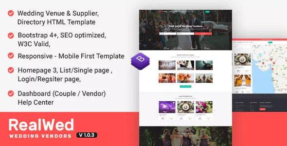 Realwed v1.0.3 — Wedding Supplier Directory & Listing HTML Template