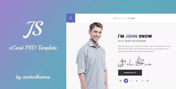 JS — Creative vCard & Resume Portfolio PSD Template