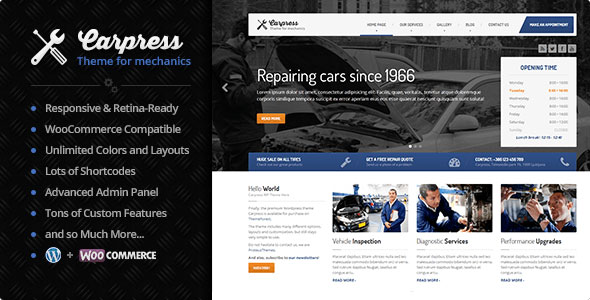 Carpress v1.11.8 — WordPress Theme For Mechanic Workshops