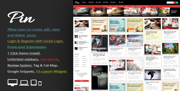 Pin v4.6.1 — Pinterest Style / Personal Masonry Blog