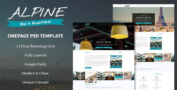 Alpine — Bed and Breakfast Onepage PSD Template