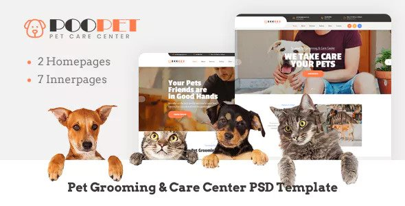 Poopet — Pet Grooming & Care Center PSD Template