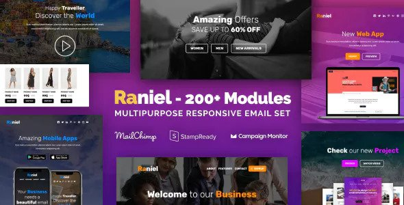 Raniel — Responsive Email with 200+ Modules + MailChimp Editor + StampReady + Online Builder