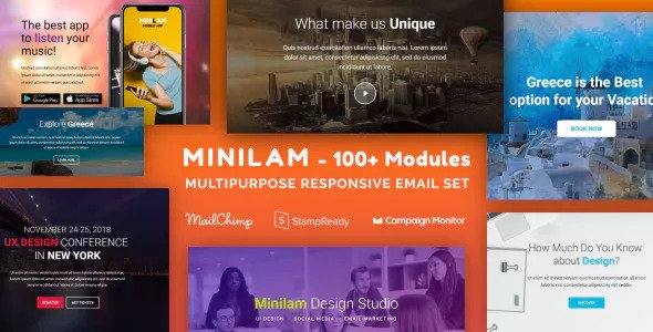 Minilam — Responsive Email with 100+ Modules + MailChimp Editor + StampReady + Online Builder