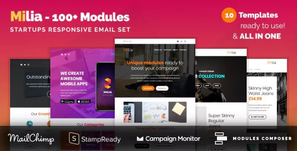 Milia — Responsive Email with 100+ Modules + MailChimp Editor + StampReady + Online Builder