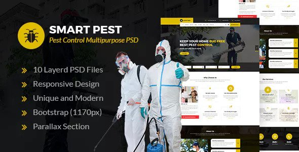 Smart Pest — Pest Control Multipurpose PSD Template