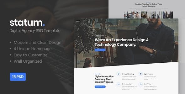 Statum — Digital Agency PSD Template