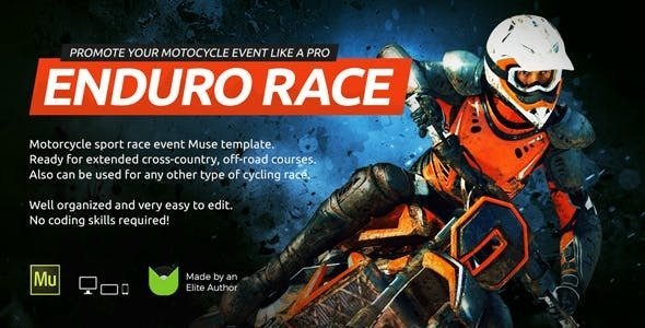 Enduro — Extreme Motorcycle Race Event Website Muse Template