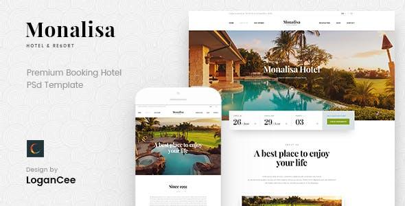 Monalisa — Premium Booking Hotel PSD Template