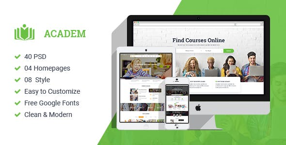 Academ — Multiconcept College & Education PSD Template