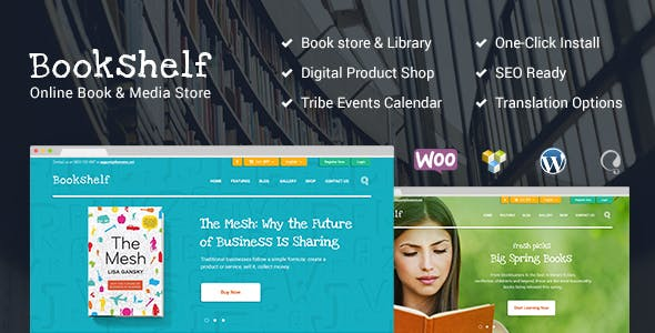 Bookshelf v1.9.1 — Books & Media Online Store WordPress Theme