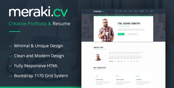 Meraki v1.3 — One Page Resume WordPress Theme