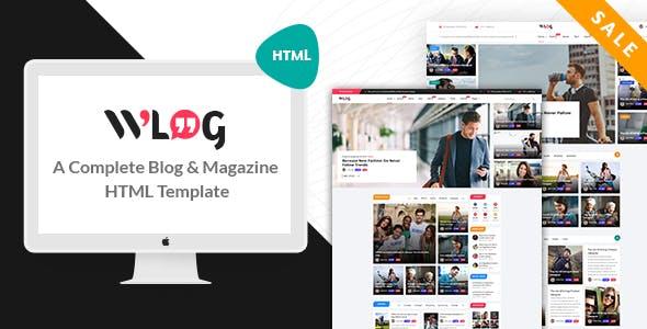 Wlog v1.0 — Blog and Magazine HTML Template