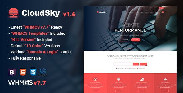 CloudSky v1.6 — Multipurpose Domain, Hosting and WHMCS Template