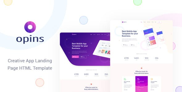 Opins v1.0 — Creative App Landing Page HTML Template